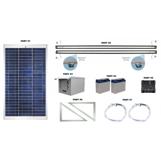 FL15 Solar 5W/10W LED Sign Light System (1 or 2 Lamp Kit)