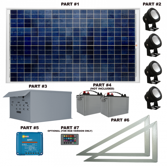 FL74 Solar LED Spot Light System (4 Lamp Kit)