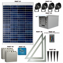 FL83 Solar 3W LED Sign Light System (4 Lamp Kit)