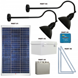 FL91 Solar 3W LED Sign Light System (2 Lamp Kit)