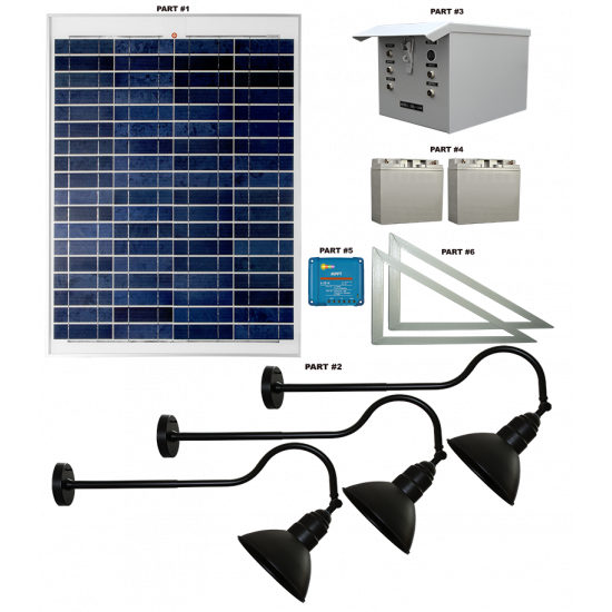 FL92 Solar 3W LED Sign Light System (3 Lamp Kit)