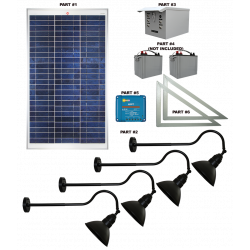 FL93 Solar 3W LED Sign Light System (4 Lamp Kit)