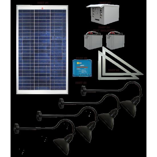 FL93 Solar LED Traditional Sign Light System (4 Lamp Kit)