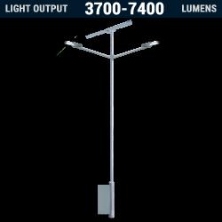 SL24 Solar Double 10W-20W LED Street / Car Park / Area Light (With Column)