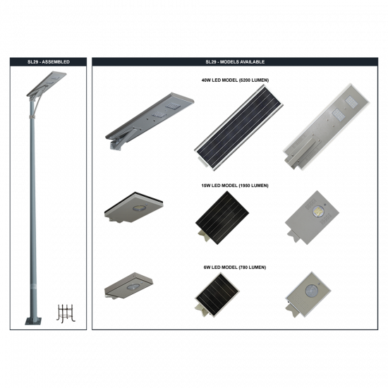 SL29 Solar 5W-40W LED All-In-One Area Light (With Column)